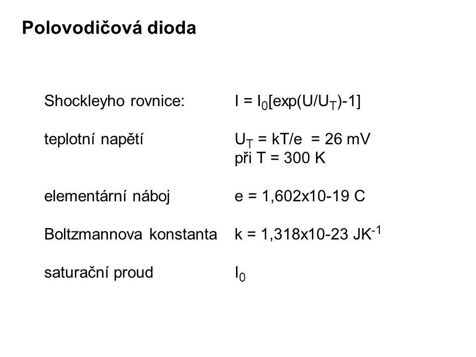 Polovodičová dioda Shockleyho rovnice: I = I0[exp(U/UT)-1]